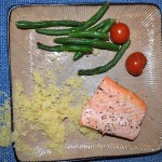 Baked Salmon, Couscous, Roasted Green Beans and Tomatoes