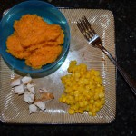 Mashed Sweet Potato, Leftover Chicken and Frozen Corn
