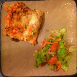 Lasagne with Ground Turkey, Spinach and Mushroom & Salad