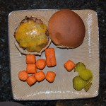 Homemade Turkey Burger on Wheat Bun, Sweet Potato Tots, Pickles