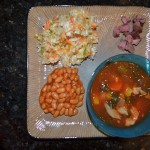 Veggie Soup, Vinegar Based Coleslaw, Steak, Baked Beans