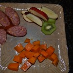 Cheddar and Beef Kielbasa, Steamed Sweet Potatoes, Apple and Kiwi Slices