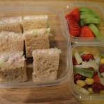 Tuna on Whole Wheat, 4 Bean Salad, Strawberries and Kiwi