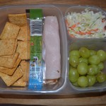 Cheese, Crackers, Turkey Rolled up, Grapes, Cole Slaw