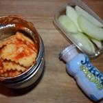 Ravioli, Sliced Apples, Yogurt Drink