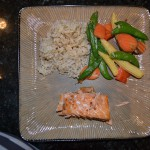 Teriyaki Salmon, Stir Fry Veggies, Brown Rice