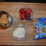 Fish Sticks and Tartar Sauce, Mixed Berries, Graham Crackers