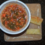 Tomato Florentine Soup w/Alphabet Pasta and Cheesy Garlic Whole Wheat Bread