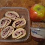 Turkey, Roast Beef and Harvarti roll up, apple and fruit parfait.
