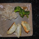 Brown Rice, Chicken and Broccoli stir fry, Ling Ling Dumplings