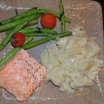 Lemony Baked Salmon, Butter Noodles, Roasted Green Beans and Tomatoes.