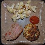 Turkey Meatloaf, Zucchini Latkes with Marinara, Baked Parmesan Cauliflower