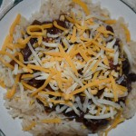 Brown Rice, Slow Cooker Black Bean Soup, Shredded Cheese.