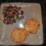 Dill Bean Salad and Baked Crab Cakes.