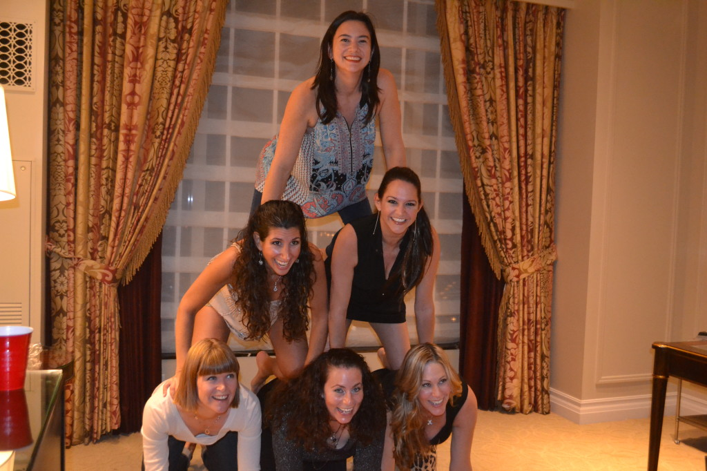 Jessica suggested we do the photo we always do when the 6 of us get together, the pyramid.