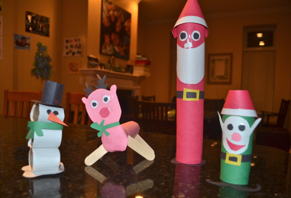 Here is a close up of my toilet paper roll and construction paper mascots.