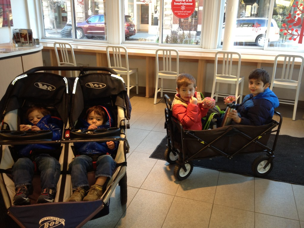 How you run errands with 4 kids. (Push with one hand, pull with the other.)
