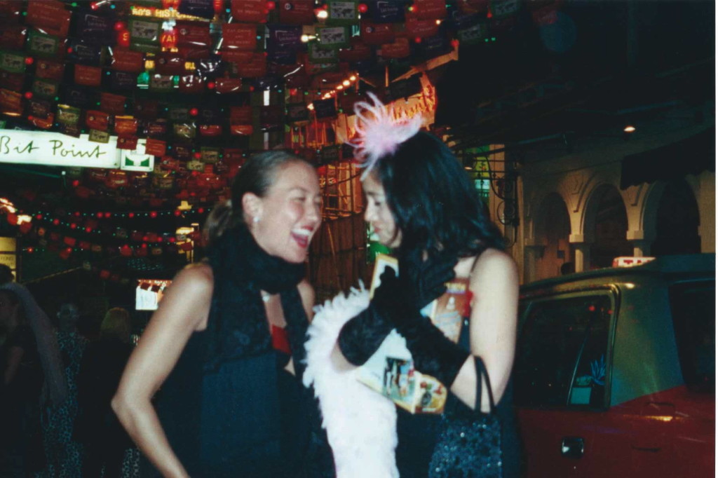 "Anna and I at one of the most incredible parties, Teena Goulet's 40th murder mystery. Anna's character was ""pregnant"" which went over well in Lan Kwai Fong later that evening, especially dancing with our friend David whose character was a priest."