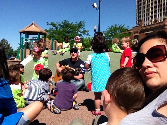 Not all bad, here was a nice surprise. A guy shows up and starts singing kids songs in the park.