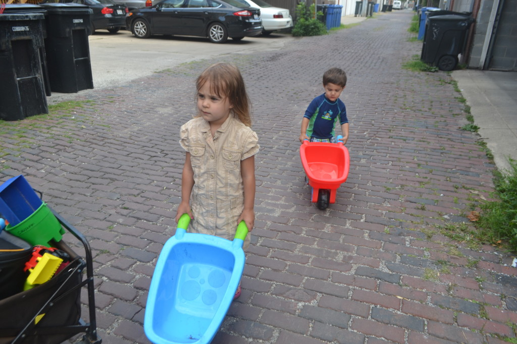 They insisted on walking these wheel barrels 7 blocks to the park.