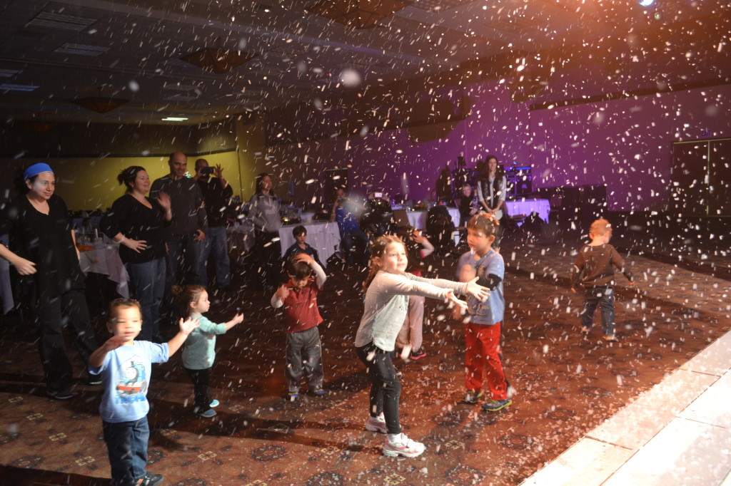Dancing under the 'Snow' during the show.