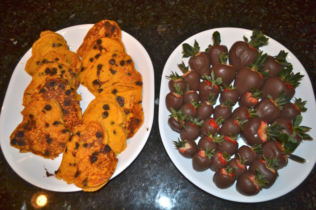 Heart Pumpkin Chocolate Chip Pancakes and Chocolate Covered Strawberries.