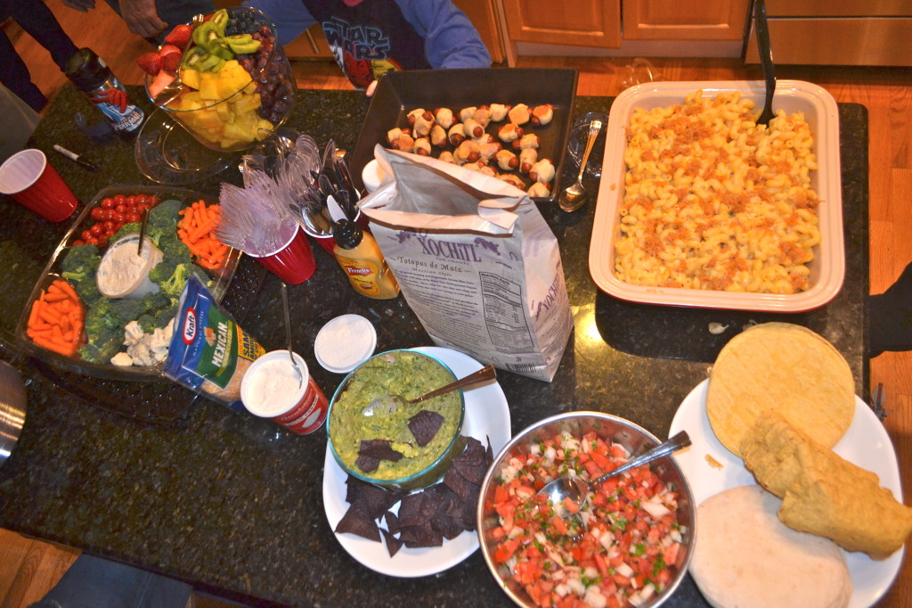 Pigs in a Blanket, Mac and Cheese, Taco Bar, Fruit and Veggies