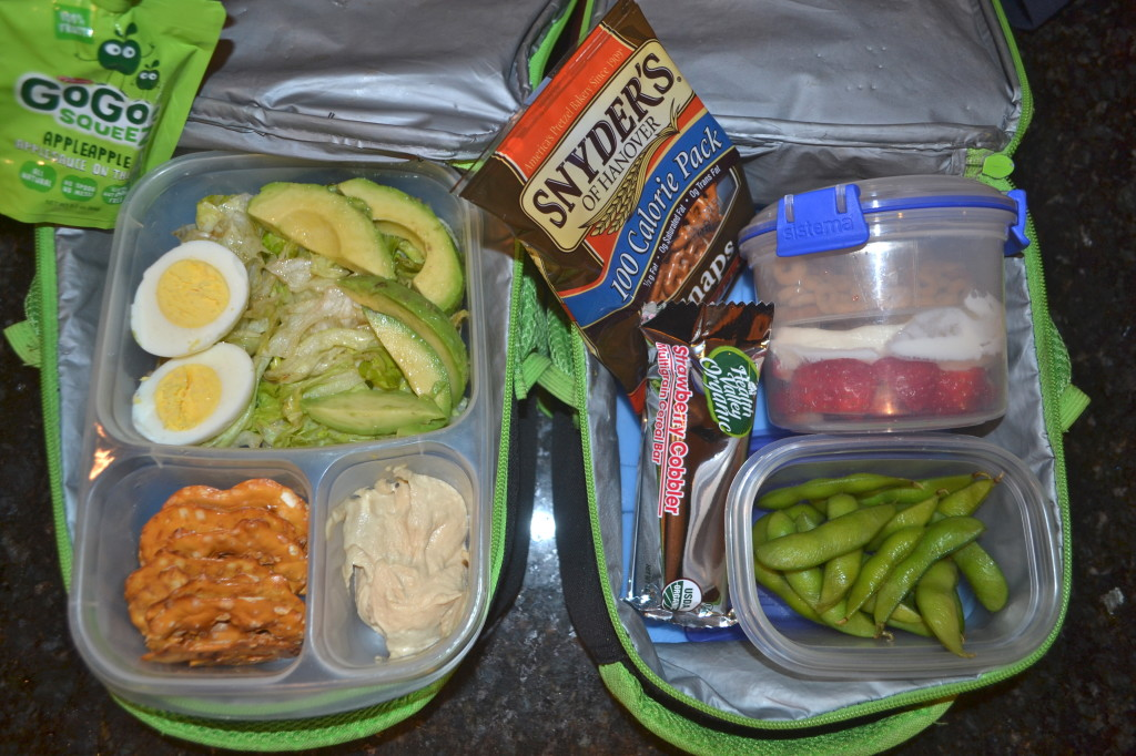 Celebrating differences today! Ben - Hummus and Pretzels for dipping, salad, hard boiled egg, avocado. Jack - yogurt parfait, edamame, fruit bar, pretzels.