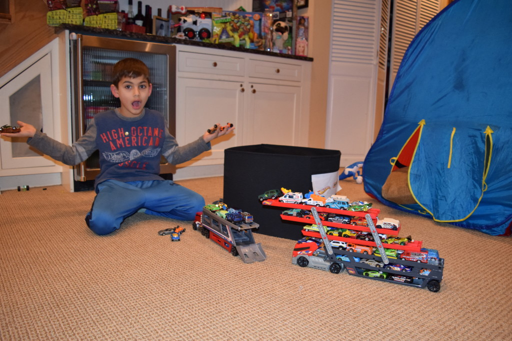 MORE hot wheels and ANOTHER car carrier (the bin behind is full of the same)