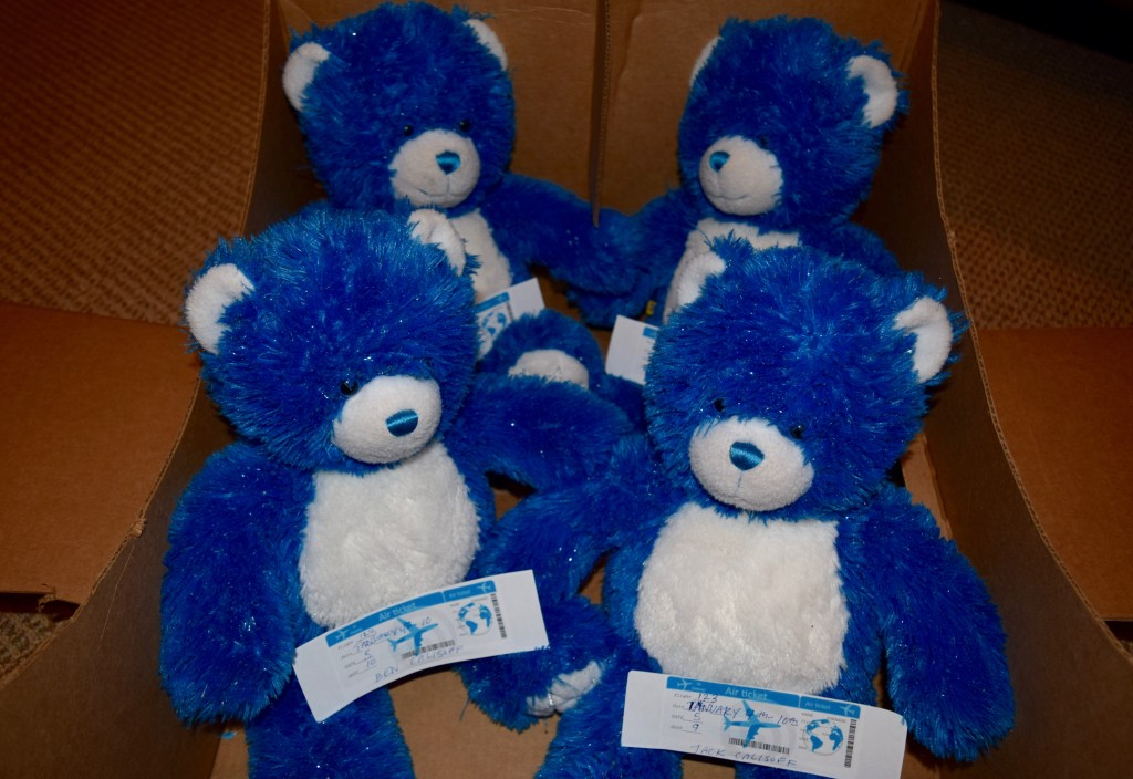 Bears bearing airline tickets to Florida for the boys.