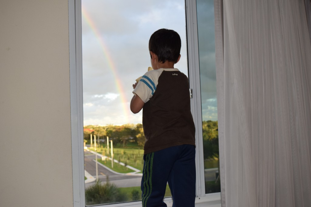 Rainbow out our window while we eat room service.
