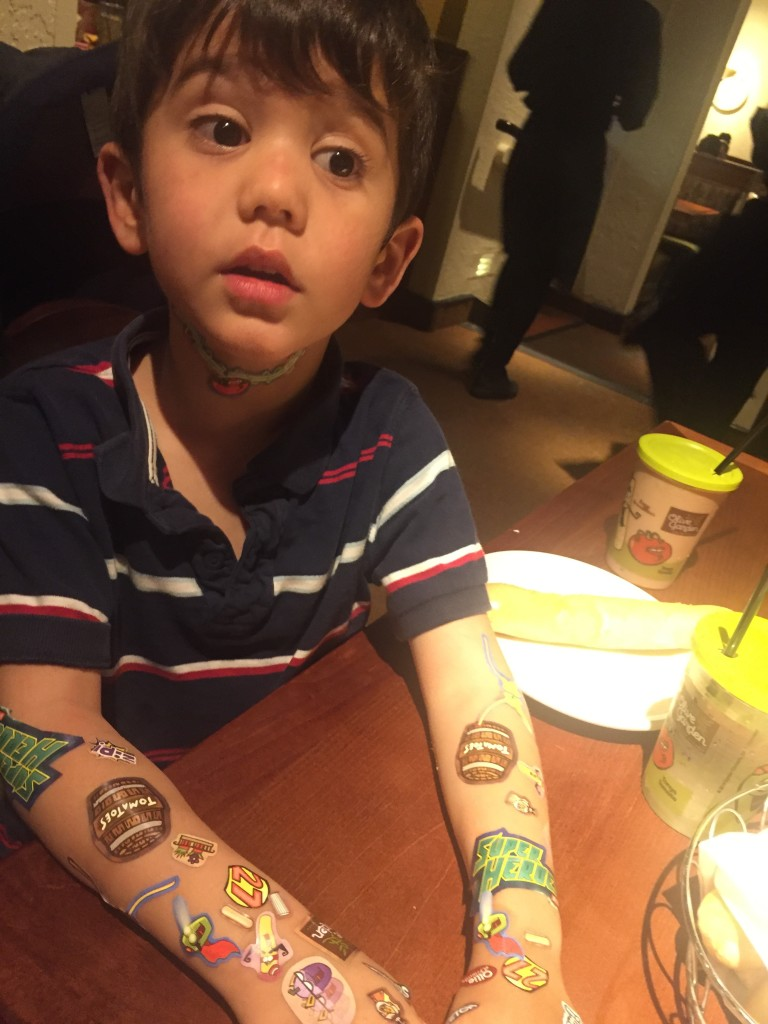 Olive Garden kids menu stickers.