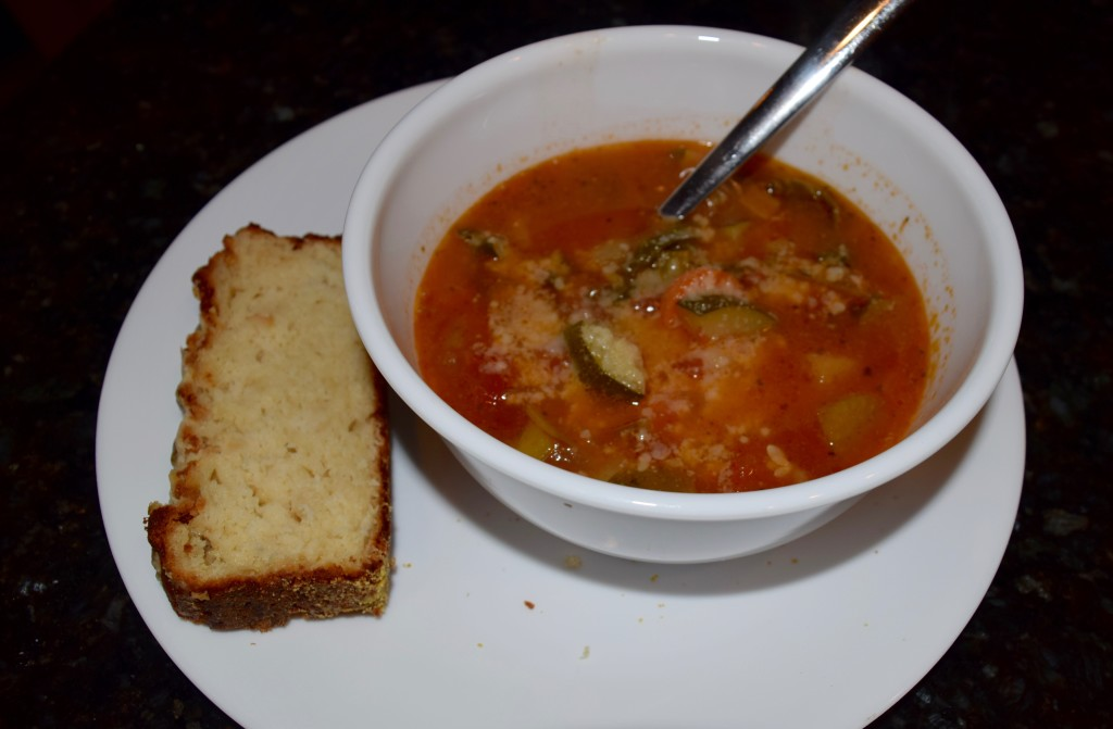 Apple and Cheddar Bread with Minestrone Soup