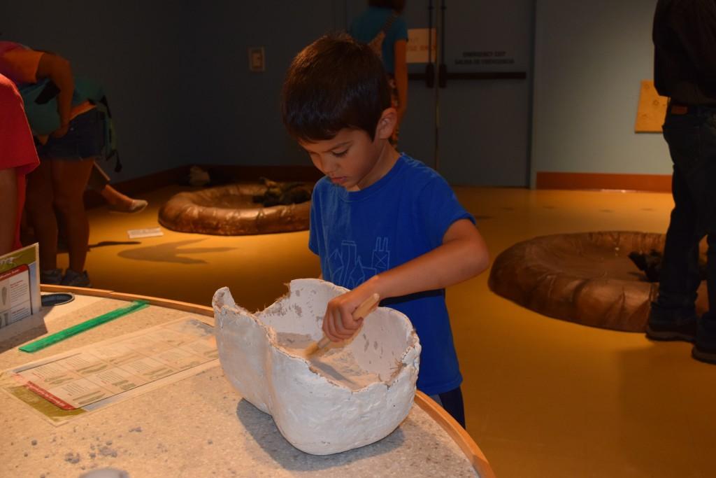 Excavating bones