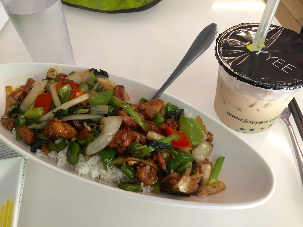 Thai Basil Chicken and Bubble Tea from Joy Yee Noodles