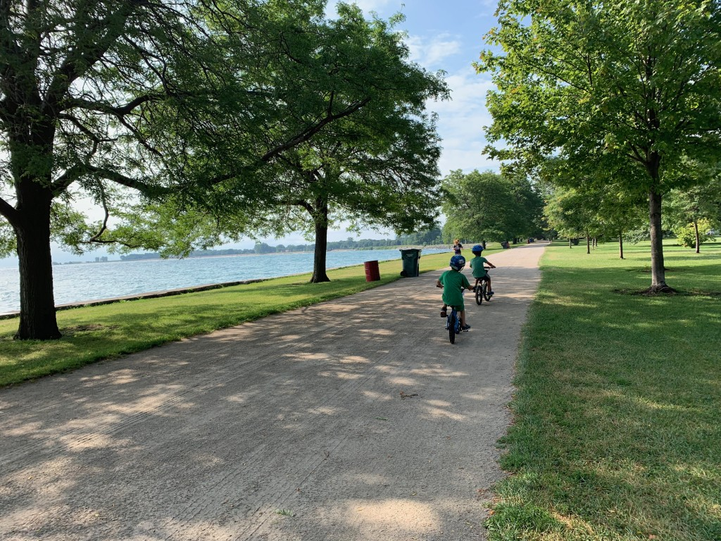 Biking the Lakefront while Jack was is in Golf class.